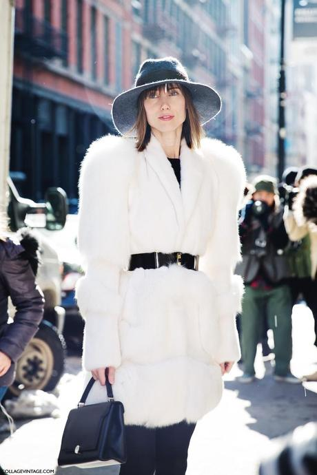 New_York_Fashion_Week-Street_Style-Fall_Winter-2015-Anya_Ziourova-Fur_Coat-GRey_Hat-Belted-