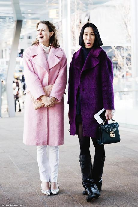 New_York_Fashion_Week-Street_Style-Fall_Winter-2015-Stripes_Fur_Coat-White_Boots-Purple_Coat-Pink_Coat-Eva_Chen-