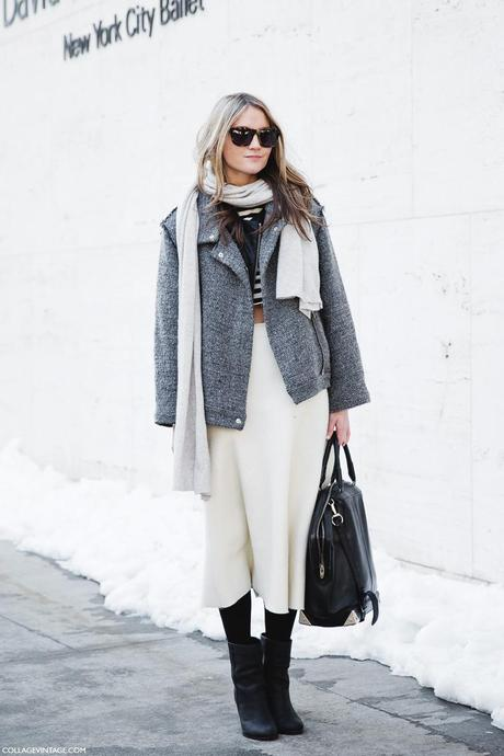 New_York_Fashion_Week-Street_Style-Fall_Winter-2015-Stripes_Fur_Coat-White_Boots-White_Skirt-Grey_Coat-Cropped_Top-Stripes-