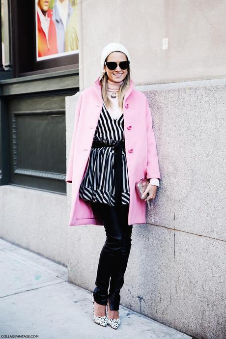 New_York_Fashion_Week-Street_Style-Fall_Winter-2015-Stripes_Fur_Coat-White_Boots-Helena_Bordon-Pink_Coat-BEanie-Leather_Trousers-