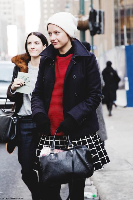 New_York_Fashion_Week-Street_Style-Fall_Winter-2015-Stripes_Fur_Coat-White_Boots-Checked_Skirt-Red_Jumper-White_Beanie-