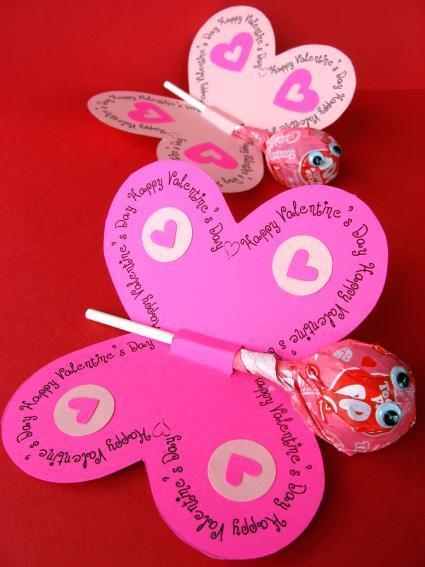 Piruletas para San Valentín en forma de mariposa