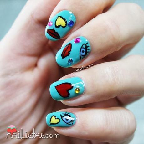 Nail art de san valentín divertido y bonito