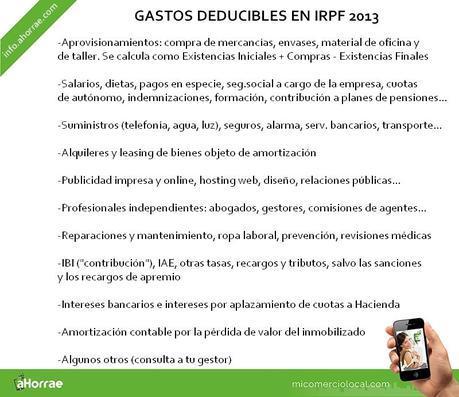 Gastos deducibles en IRPF 2013
