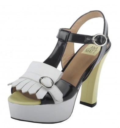 Sandalias de tacón de Ana Matt shoes que combina blanco, negro y amarillo elda