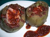 Alcachofas rellenas pate salsa vino