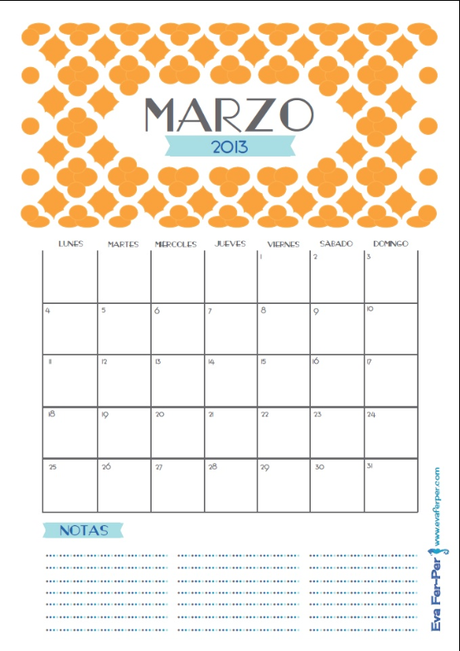 Calendarios imprimibles para Marzo 2014