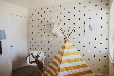 Diy efecto papel pintado con cruces en paredes gotel for Papel pintado especial para gotele