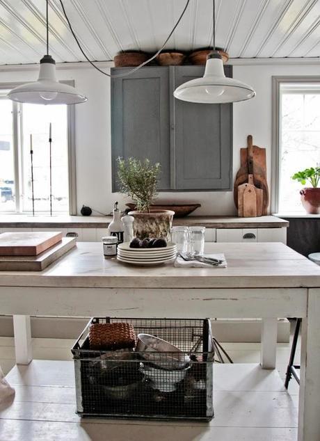 Una cocina vintage. luminosidad compleja, con elementos retro ...