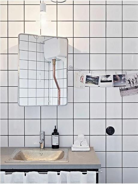 diy trendy juntas negras y azulejos blancos