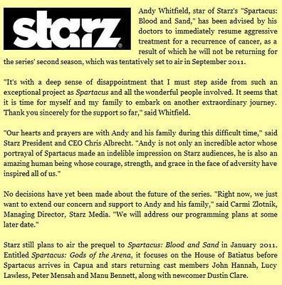 Spartacus:  Andy Whitfield abandona la serie definitivamente debido al cáncer.