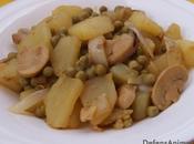 Guiso patatas cocidas champiñones