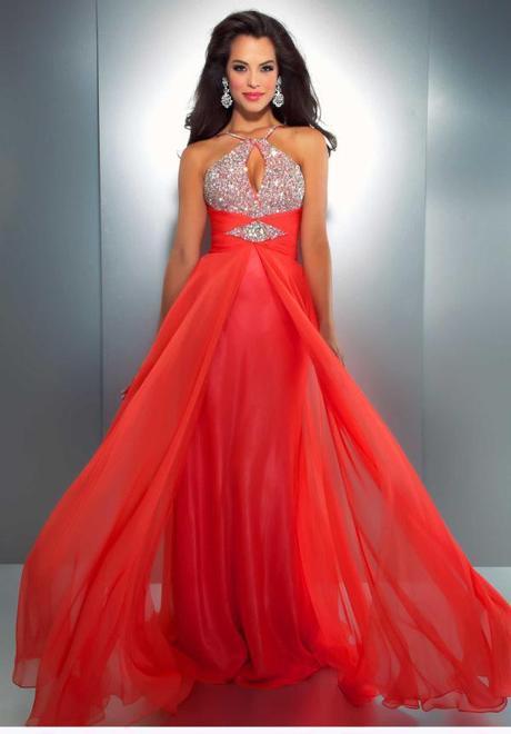 Vestidos de fiesta de noche color coral