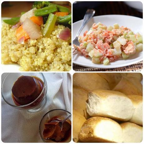 Platos que componen el octavo menú vegetariano con recetas de otros blogs.