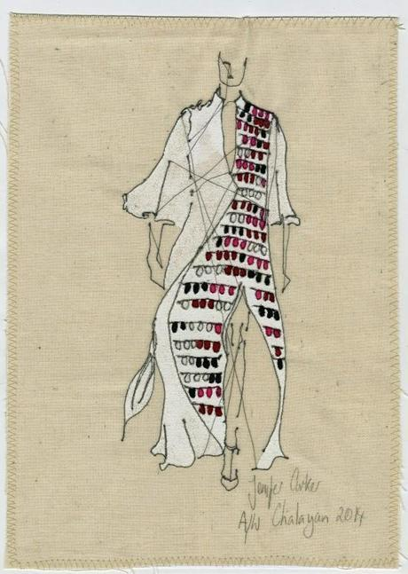 Bocetos del diseñador de moda Hussein Chalayan