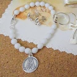 pulsera plata comunion con virgen del rocio
