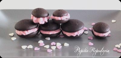 Whoopie pies de chocolate y fresa (especial San Valentín)