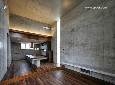 Residencia japonesa minimalista de hormig n armado desnudo for Mesa comedor hormigon