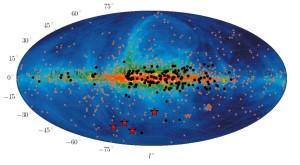 """Los cuatro """"blitzars"""" (estrellas rojas), recientemente detectados, han revelado que estas fuentes de explosiones fugaces de radio están mucho más lejos que los púlsares conocidos (los puntos negros en la imagen de arriba)"""