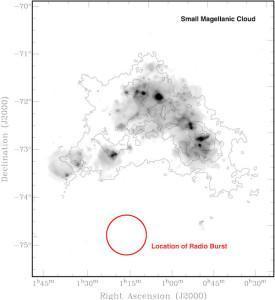 Este gráfico representa el sitio del primer estallido de ondas de radio encontrado.  Crédito: Lorimer et al., NRAO/ AUI/ NSF