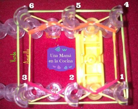 30dd6bb5f0a3 Tutorial Pulsera Gomitas (hexafish o de 6 pins) con Rainbow Loom ...