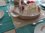 Decoración mesa turquesa