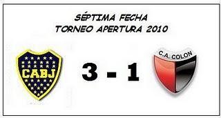 Boca Juniors:3  - Colón:1  (7° Fecha)