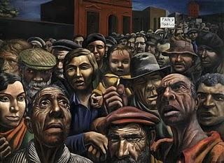 Manifestación de 1934...(Pintura en temple y tela de ANTONIO BERNI)