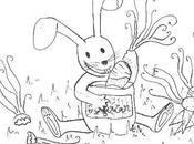 colorear conejo comiendo zanahorias!