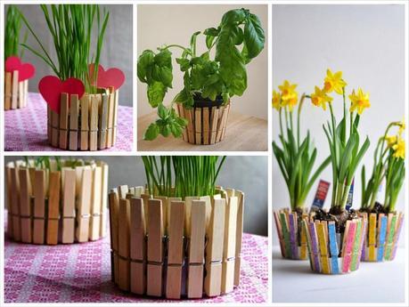 Deco idea macetero con pinzas de tender paperblog - Maceteros madera ikea ...