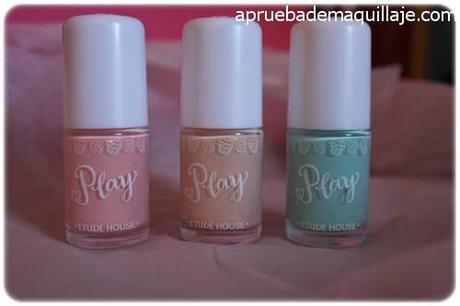 Esmaltes de uñas play texture sugar powder nails de Etude House tonos 192,193 y 194