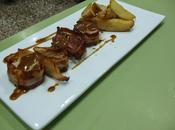 Solomillo cerdo albardado salsa pedro ximenez patatas gajo