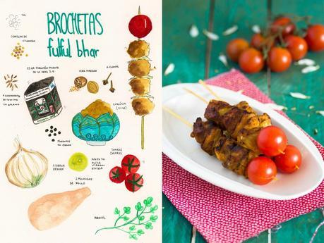 Brochetas de pollo fulfur bhat o como hacer la mezcla de - Como preparar pinchos de pollo ...