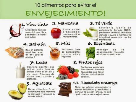 10 alimentos para evitar el envejecimiento #Infografía #Salud #Alimentación