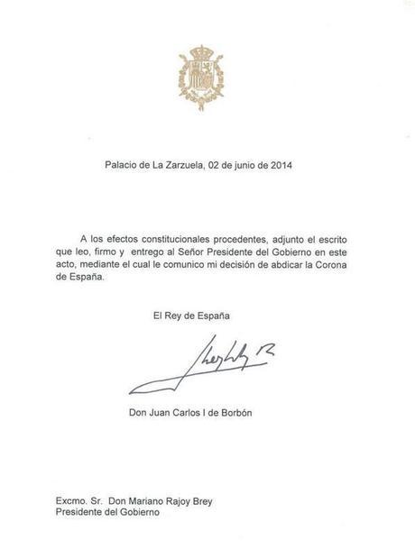 Abdica Don Juan Carlos I Rey de España