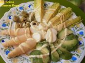 Ensalada blanca verde vinagreta mango