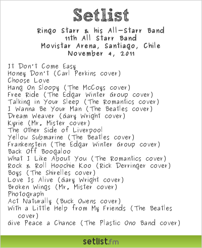 Ringo Starr & his All-Starr Band Setlist Movistar Arena, Santiago, Chile 2011, 11th All Starr Band