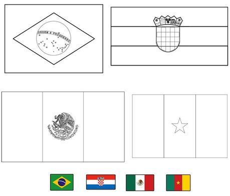 Banderas del mundial de fútbol Brasil 2014 para colorear - Paperblog
