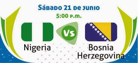 Partido Nigeria vs Bosnia Grupo F Mundial Brasil 2014