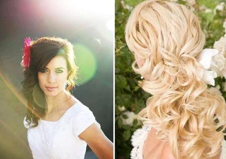 peinados para novias con pelo largo sueltos recogidos o On recogidos semi sueltos