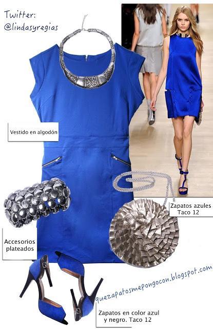 Zapatos con vestido azul electrico