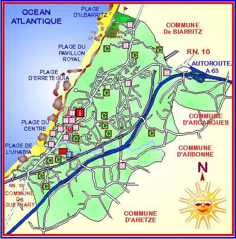 Map of Bidart on the French basque coast