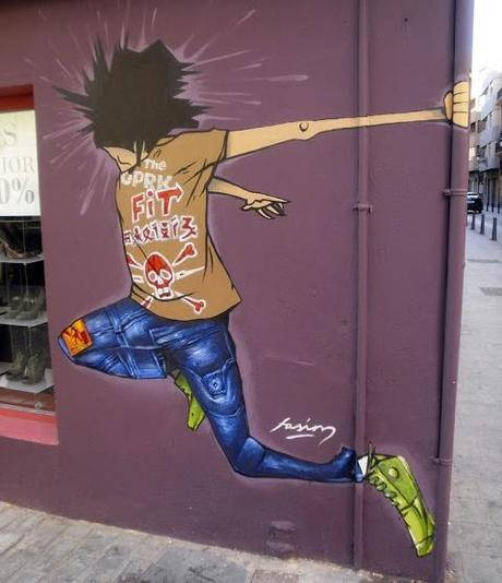 Graffiti en tienda Fit Shop Valencia