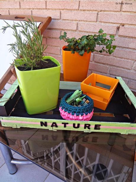 ms terraza y una caja de frutas