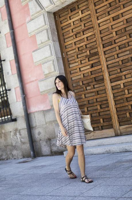 street style barbara crespo hakei striped pattern dress fashion blogger outfit blog de moda