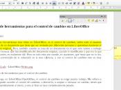 Barra herramientas para control cambios LibreOffice