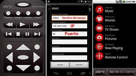 Mando smartphone para XBMC
