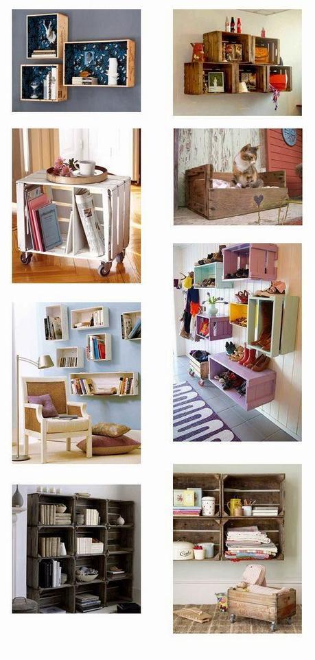 Deco 21 ideas geniales para decorar tu casa con cajas de - Cajas de fruta recicladas ...