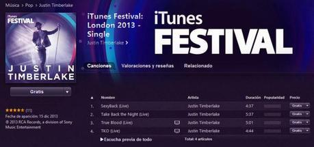 Descarga gratis de Apple canciones y videos de Justin Timberlake