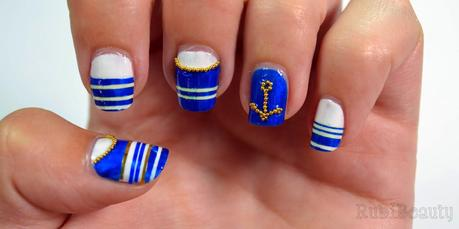 rubibeauty nail art diseño uñas design navy marinero It huelva